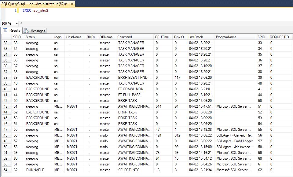 Expert SQL Server - sp_whoisactive : Processus actifs sur une instance SQL Server - SQL Server  - sp_who2