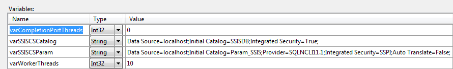 Expert SQL Server - Parallélisme SSIS par package - BI & Big Data C# SQL Server  - catalogue_ssis_variables