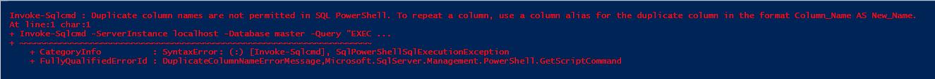 Expert SQL Server - Quelques trucs à savoir sur Invoke-Sqlcmd - Powershell SQL Server  - Invoke-SQLcmd_Error