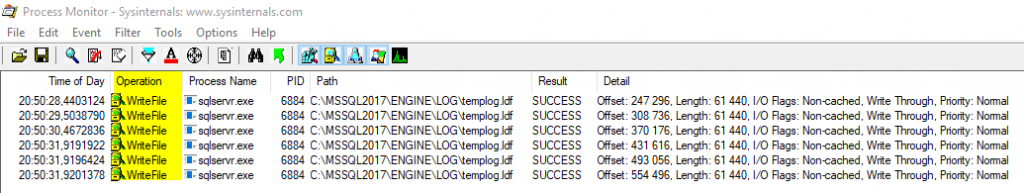 Expert SQL Server - Différences entre tables temporaires et variable table : ##temp, #temp, @temp... ou CTE ? - SQL Server  - ProcessMonitor_Result-1024x193